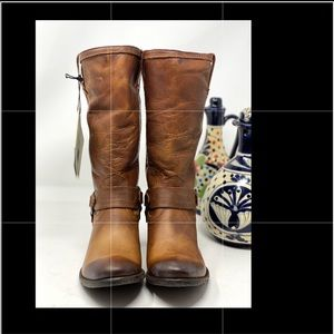 Frye Carson Harness Leather Boots.